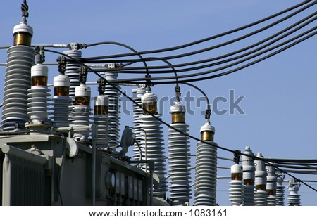 Power distribution equipment in an electrical sub-station somewhere in Central Florida. Photo ID: PowerStation00061 - stock photo