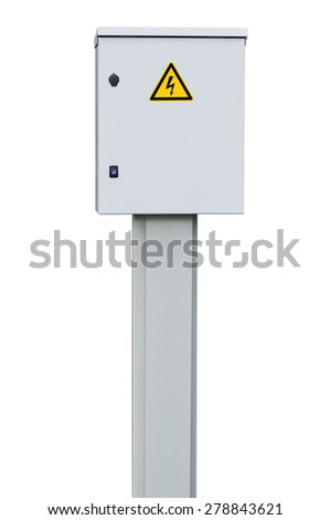 Power distribution wiring switchboard panel outdoor unit, grey brand new distributing board compartment box, gray cabinet, yellow high voltage warning triangle sign, large detailed isolated closeup - stock photo