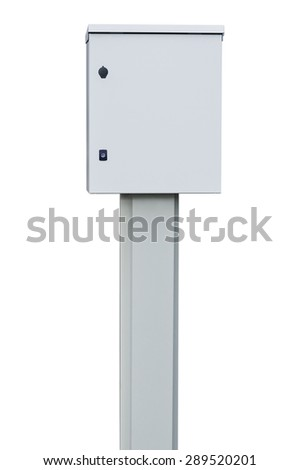 Power distribution wiring switchboard panel outdoor unit, grey brand new distributing board compartment box, gray cabinet, large detailed isolated closeup - stock photo