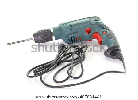 power drill in front of white background - stock photo