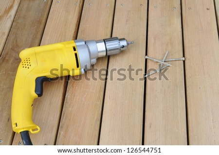 Power Drill on New Deck - stock photo