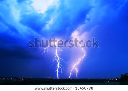 power energy lightning flash on blue background