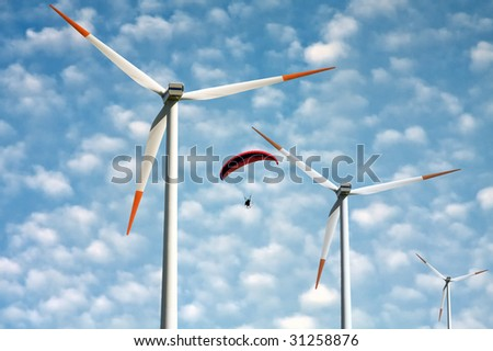 Power from wind - stock photo