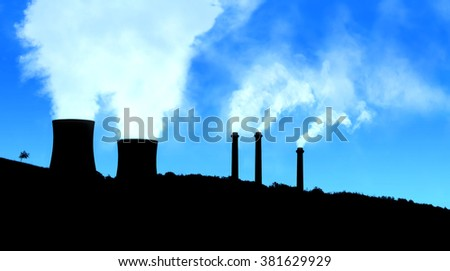 Power generating factories in the mountains blue black - stock photo