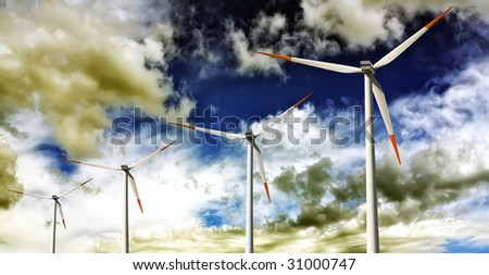 Power generating on amazing sky - stock photo