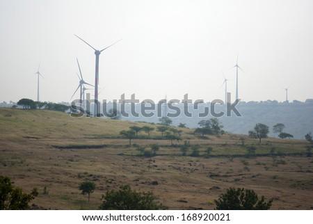 Power generating windmill, Maharashtra, India, south East Asia - stock photo
