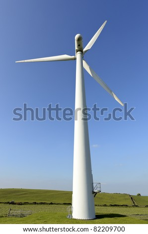 Power generation wind farm 35m in height to the hub and a rotor diameter of 37m on Royd Moor - stock photo