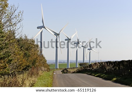 Power generation wind farm 35m in height to the hub and have a rotor diameter of 37m on Royd Moor - stock photo
