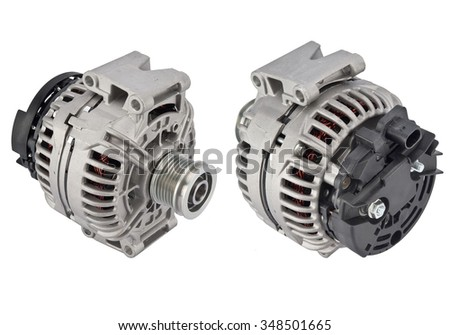 power generator for car Isolated on white. alternator - stock photo