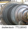 Power generator steam turbine during repair at power plant - stock