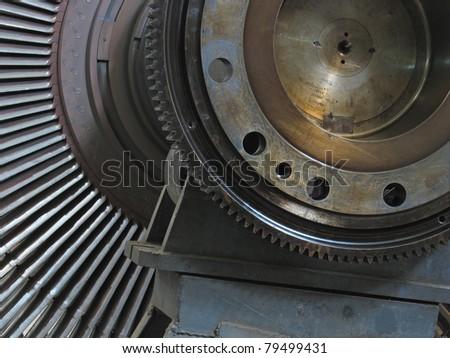Power generator steam turbine during repair at power plant - stock photo