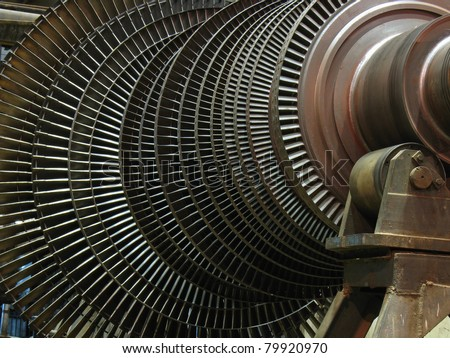 Power generator steam turbine during repair at power plant - stock photo