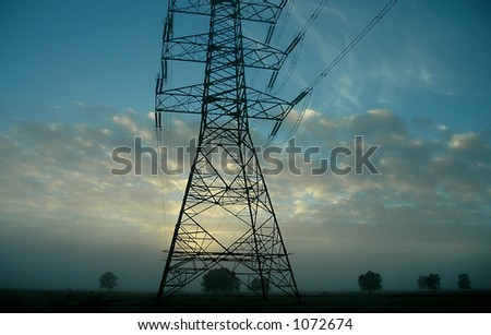 Power Grid Against The Early Morning Sky