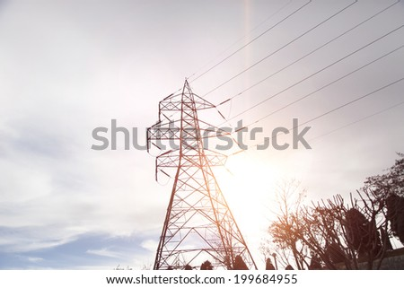 power grid with sunlight at sunset