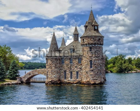 Power House of the Boldt Castle on Heart Island, Alexandria Bay, in the St.Lawrence River on Thousand Island,Ontario,Canada-USA - stock photo
