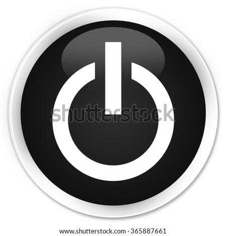 Power icon black glossy round button