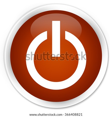 Power icon brown glossy round button