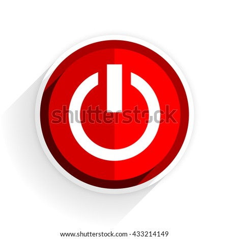 power icon, red circle flat design internet button, web and mobile app illustration