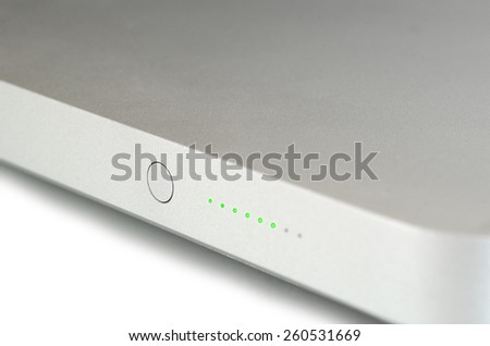 Power indicator side edge of laptop notebook computer. - stock photo