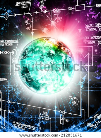 Power Industrial Technologies.Design Cosmic - stock photo