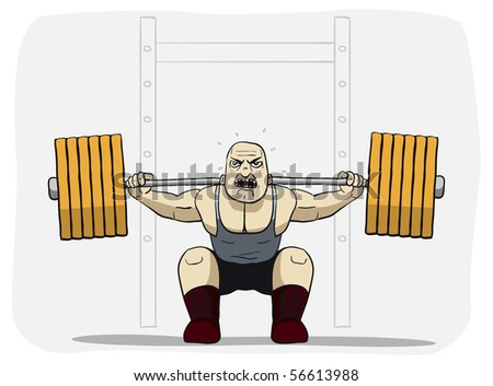 Power lifter is lifting an heavy load - stock photo