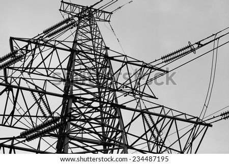 Power Line against sky background, black and white
