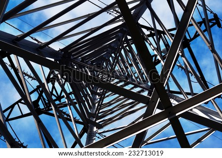 Power Line against sky background. View from above. - stock photo