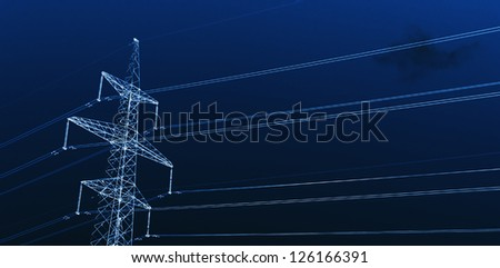 Power Line against sky background. X-ray effect. - stock photo