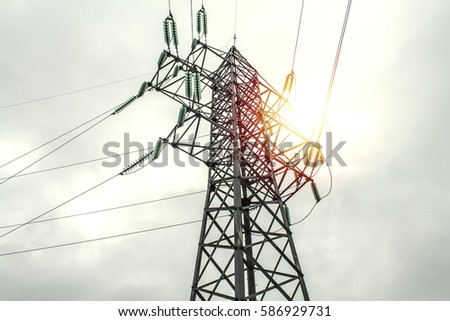 Power line against the background of beautiful sunset.