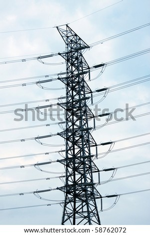 Power Line and Tower - stock photo