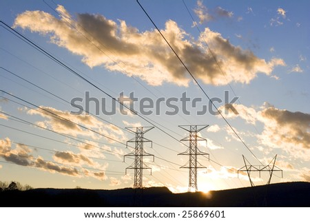 Power line at Sunset, USA