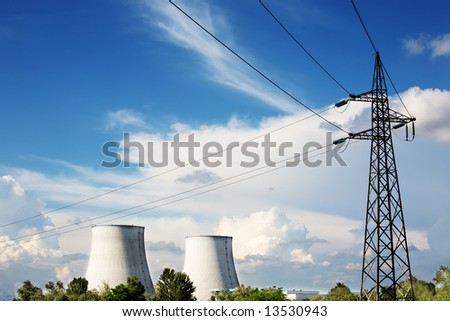 Power line of a nuclear power station; daylight. - stock photo