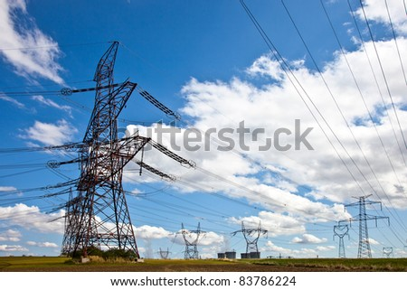 Power line of power station - stock photo