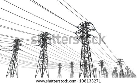 power line on a white background - stock photo
