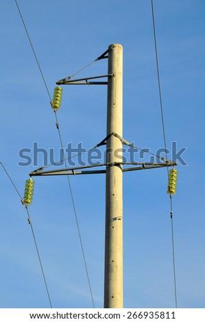 Power line pole - stock photo