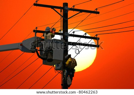 Power Line Repair - stock photo