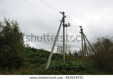 Power line surrounded by nature
