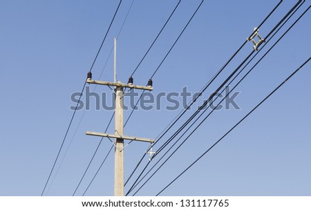 Power line with blue sky - stock photo