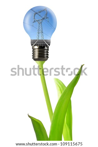 power line with solar panel in the bulb - stock photo