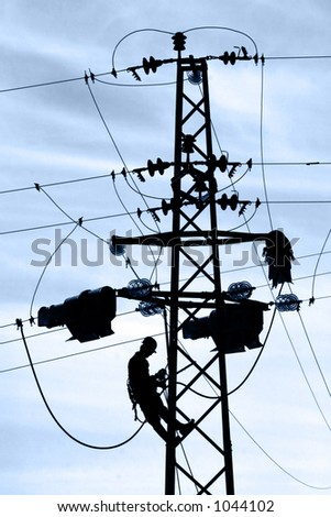 Power-line worker on service