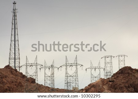 Power lines and towers at Hoover Dam.