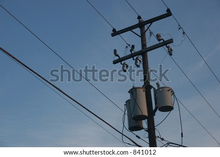 Power lines and transformers. - stock photo
