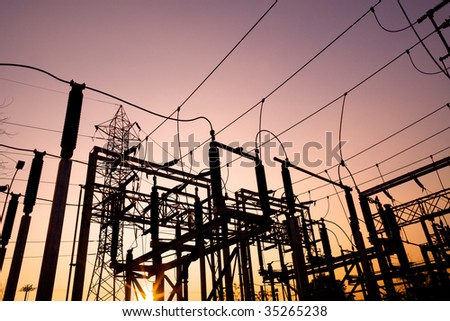 Power lines at Santiago de Chile - stock photo