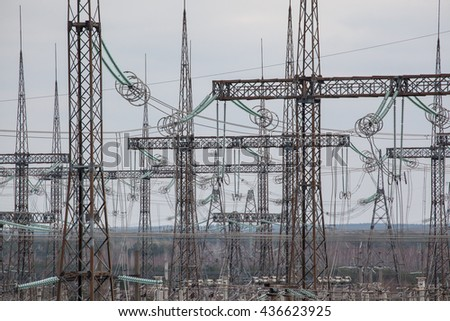 power lines, chernobyl, high voltage, high voltage power lines in chernobyl - stock photo