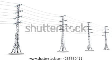 Power lines isolated on white background. 3d render image. - stock photo