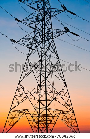 Power lines on the nice sky - stock photo