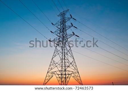 Power lines on the nice sky - stock photo