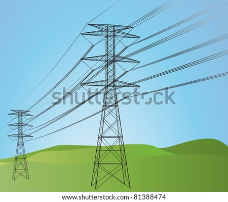 Power lines with sky - stock photo
