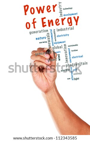 Power of Energy concept and other related words, written on whiteboard - stock photo