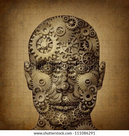 Power of human creativity with a front facing head made of gears and cogs on a grunge old parchment texture as a symbol of ingenuity and business or health success. - stock photo